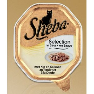 Sheba Selection Kip en Kalkoen in Saus per kuipje OP is OP