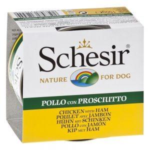 Schesir Schesir Kip met Ham hondenvoer 1 tray (10 blikken) Nat kattenvoer Schesir