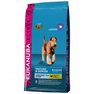 Eukanuba Mature & Senior Largebreed Kip Hondenvoer 2 x 12 kg + 200 gram Eukanuba Healthy Biscuits Senior gratis!