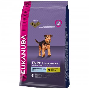 Eukanuba Puppy & junior Largebreed kip Hondenvoer 2 x 12 kg + 200 gram Eukanuba Healthy Biscuits Puppy gratis!