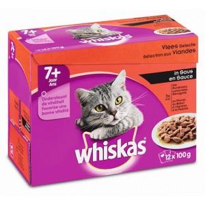 Whiaks Pouch Senior 7 Vlees Selectie in Saus 1 doosje