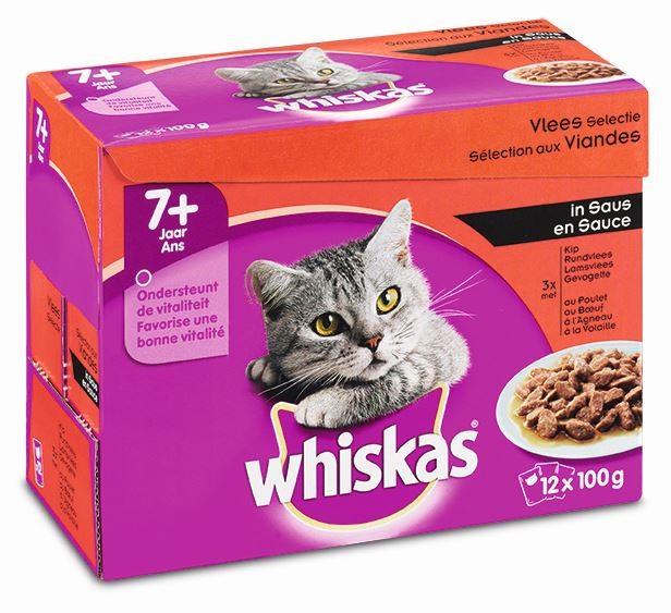 Whiskas Pouch Senior 7+ Vlees Selectie in Saus OP is OP