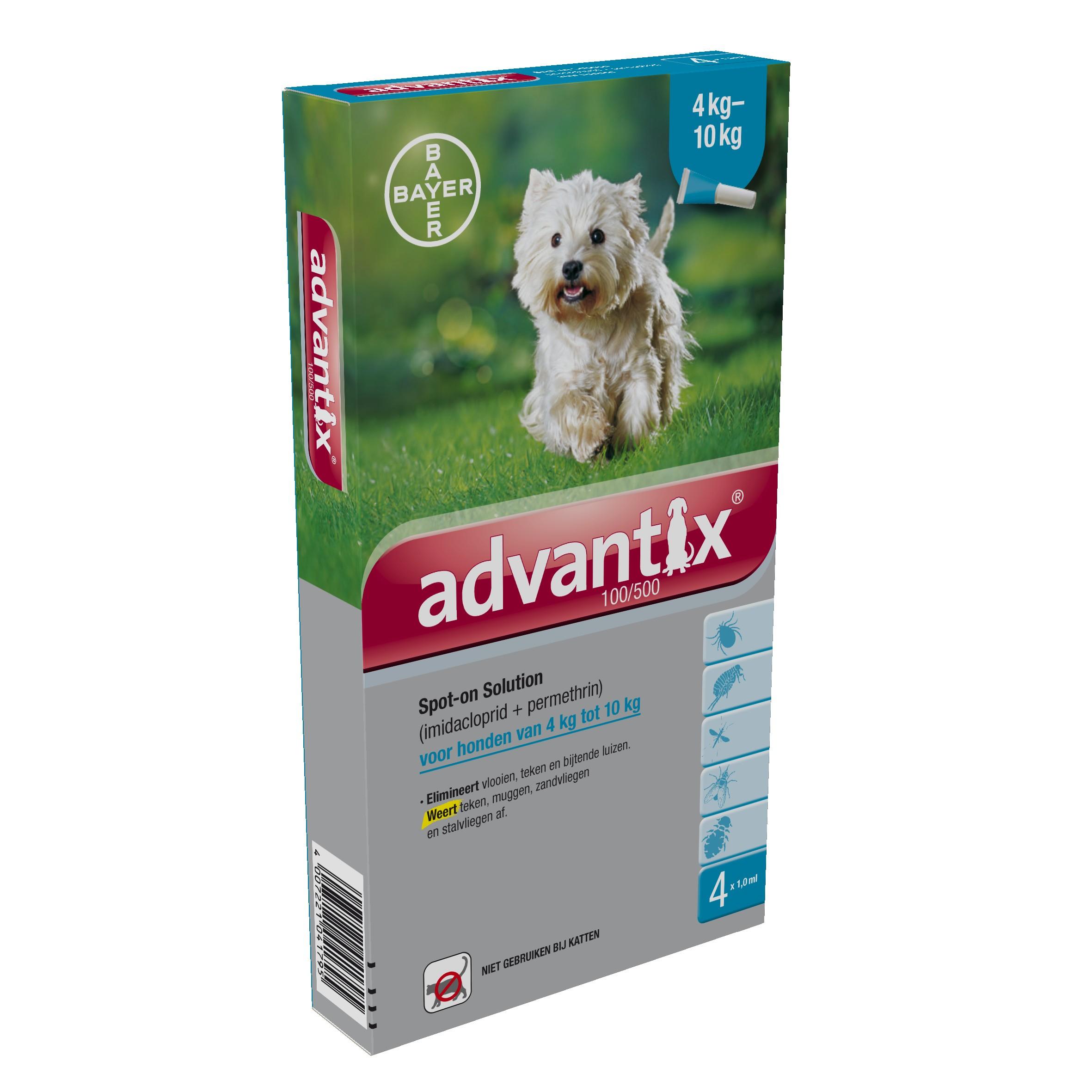 Advantix 100/500 voor honden van 4 tot 10 kg