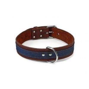 Beeztees Leren Halsband Denim Bruin voor de hond 80 cm Beeztees Hond Halsbanden