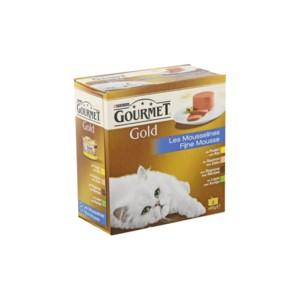 Gourmet Gold 8 Pack Mousse kip zalm niertjes konijn kattenvoer 6 doosjes (48 blikken)