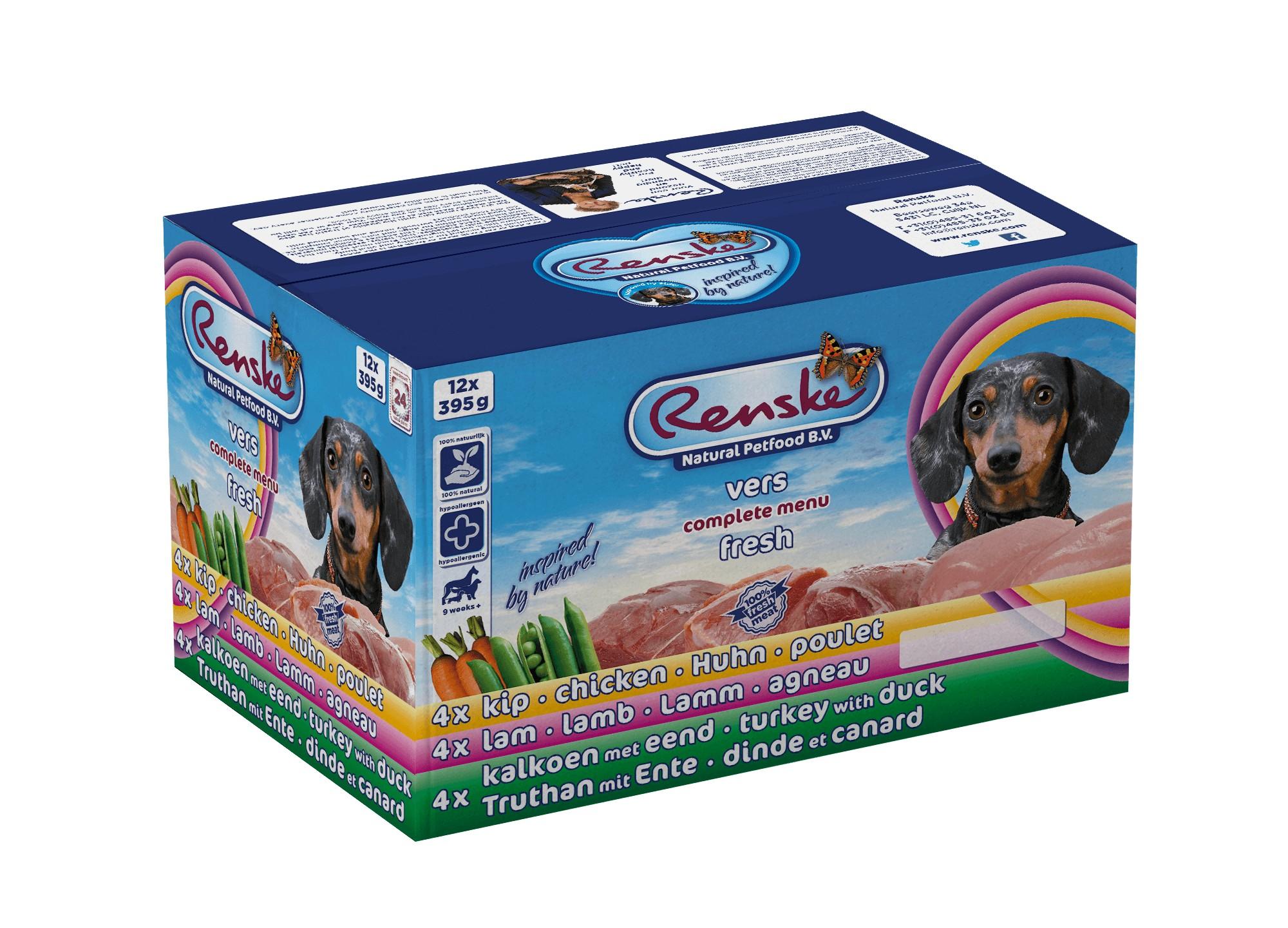 Renske Multidoos vers gestoomd vlees hondenvoer (12 x 395 gr)