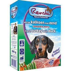 Renske Vers Kalkoen en Eend hondenvoer 1 tray (10 x 395 gram)