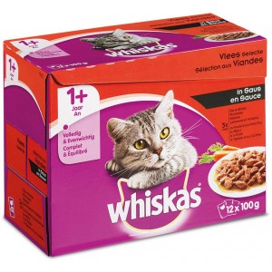 Nat kattenvoer Whiskas Whiskas Whiskas Pouch Vleesselectie in saus 8 doosjes