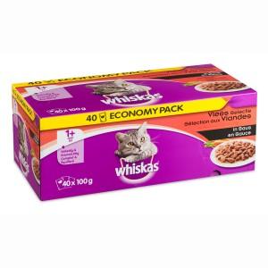 Whiskas Multi Pack Adult Vlees selectie in saus (40 stuks) Per verpakking