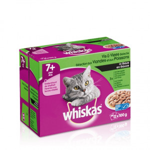 Whis multipack pouch senior vlees-vis in saus