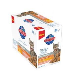 Hill's Feline Pouch Adult Sterilised Kip Zalm 12x85 g Kattenvoer