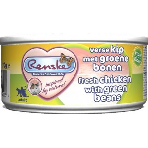 Renske Kat Adult Verse Kip Met Groene Bonen 70 gr 1 tray (24 blikken)