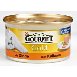 Nat kattenvoer Gourmet Gold Gourmet Gourmet Gold Mousse Kalkoen kattenvoer 2 trays (48 blikken)