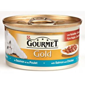 Nat kattenvoer Gourmet Gold Gourmet Gourmet Gold Zalm en Kip in saus kattenvoer 2 trays (48 blikken)
