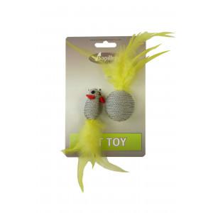 Pluchen Speeltje Glittermuis Met Glitterbal Grijs