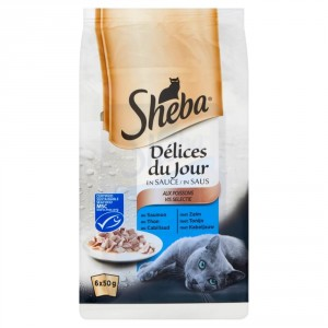 Nat kattenvoer Sheba Sheba Sheba Délices du Jour Vis Selectie in Saus 50 gr per 6