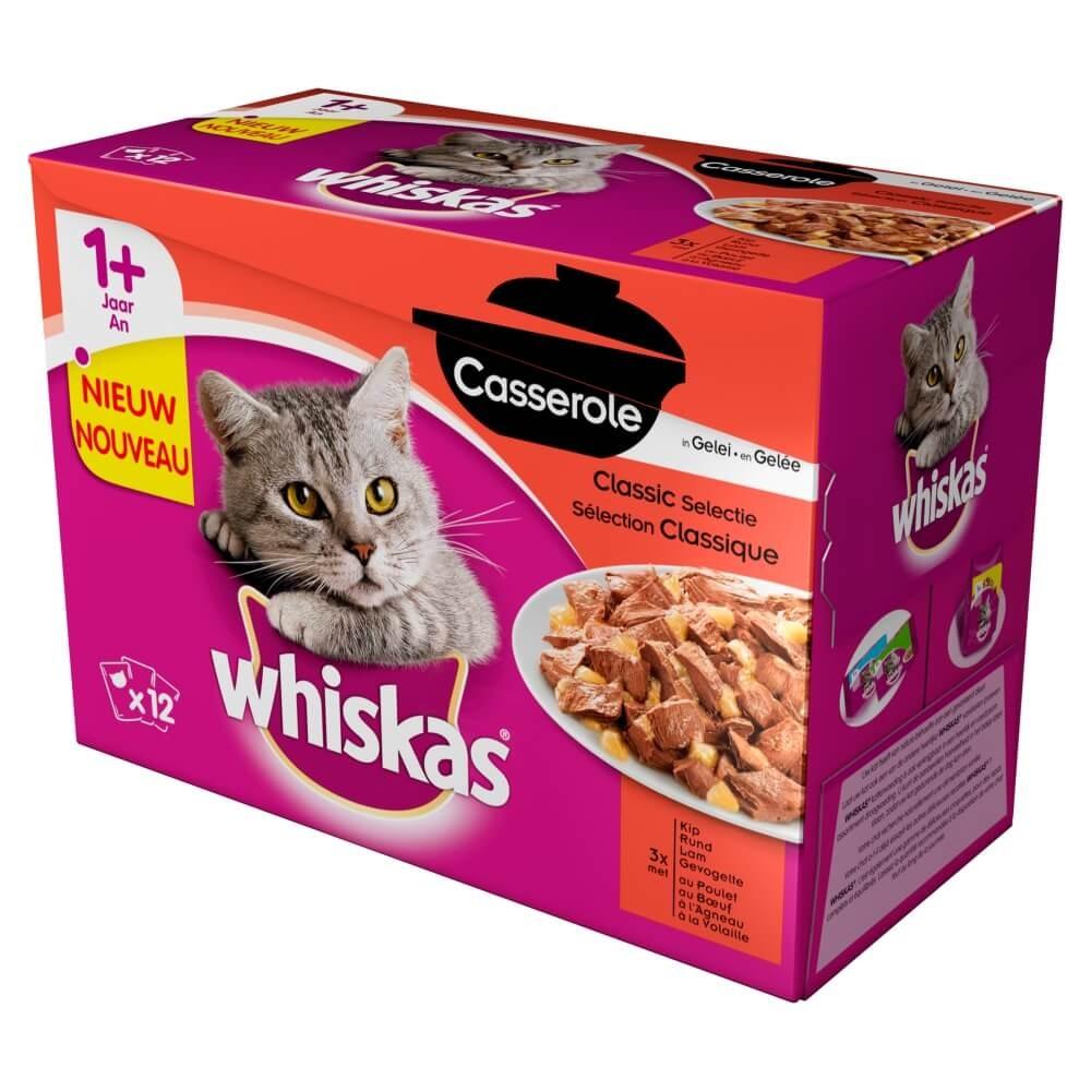Whiskas Pouch 1+ Casserole Classic Selectie in Gelei
