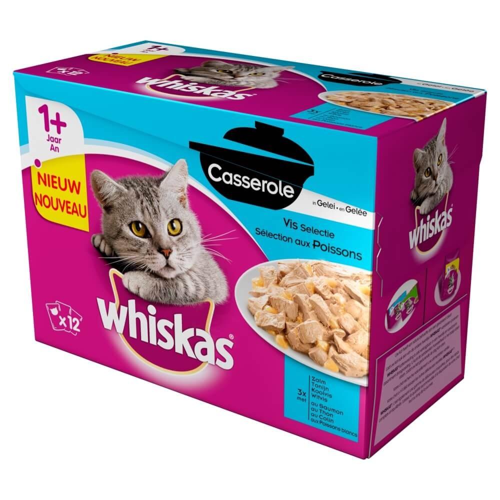 Whiskas Pouch 1+ Casserole Vis Selectie in Gelei
