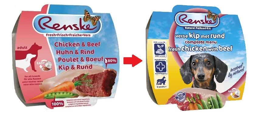Renske vers gestoomde kip & rund nat hondenvoer (100 gram)