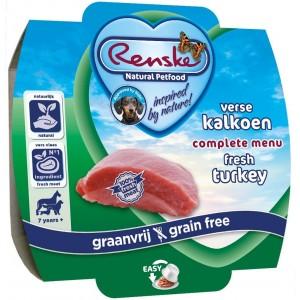 Renske Graanvrij Senior vers gestoomde kalkoen hondenvoer 100 gram