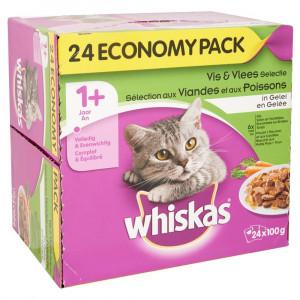 Whiskas Multi Pack Adult Vis & Vlees Selectie in Gelei 1 doosje