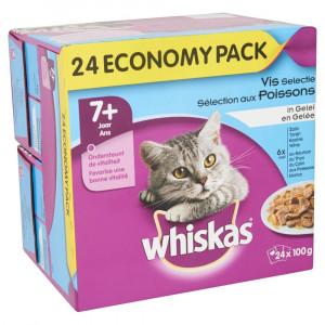 Nat kattenvoer Whiskas Whiskas Multi Pack Senior 7 Vis Selectie in Gelei (24 stuks) 2 doosjes