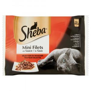 Nat kattenvoer Sheba Sheba Mini Filets in Saus Traiteur Selectie Pouch 85 gr Per 8