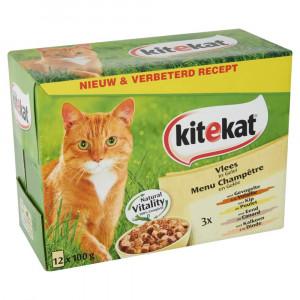 Kattenvoer Kitekat Kitekat Kitekat Pouch Vlees in Gelei kattenvoer 8 x 12 zakjes