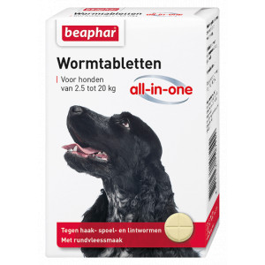 Beaphar Wormmiddel All-in-One (2,5 - 20 kg) hond 6 Tabletten