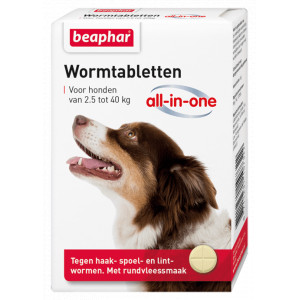 Beaphar Wormmiddel All-in-One (2,5 - 40 kg) hond 12 Tabletten