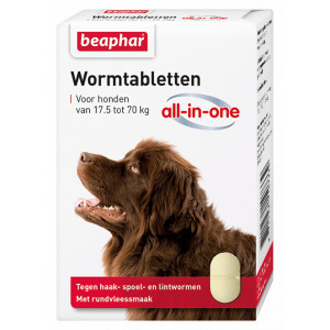 Beaphar Wormmiddel All-in-One (17,5 - 70 kg) hond 6 Tabletten