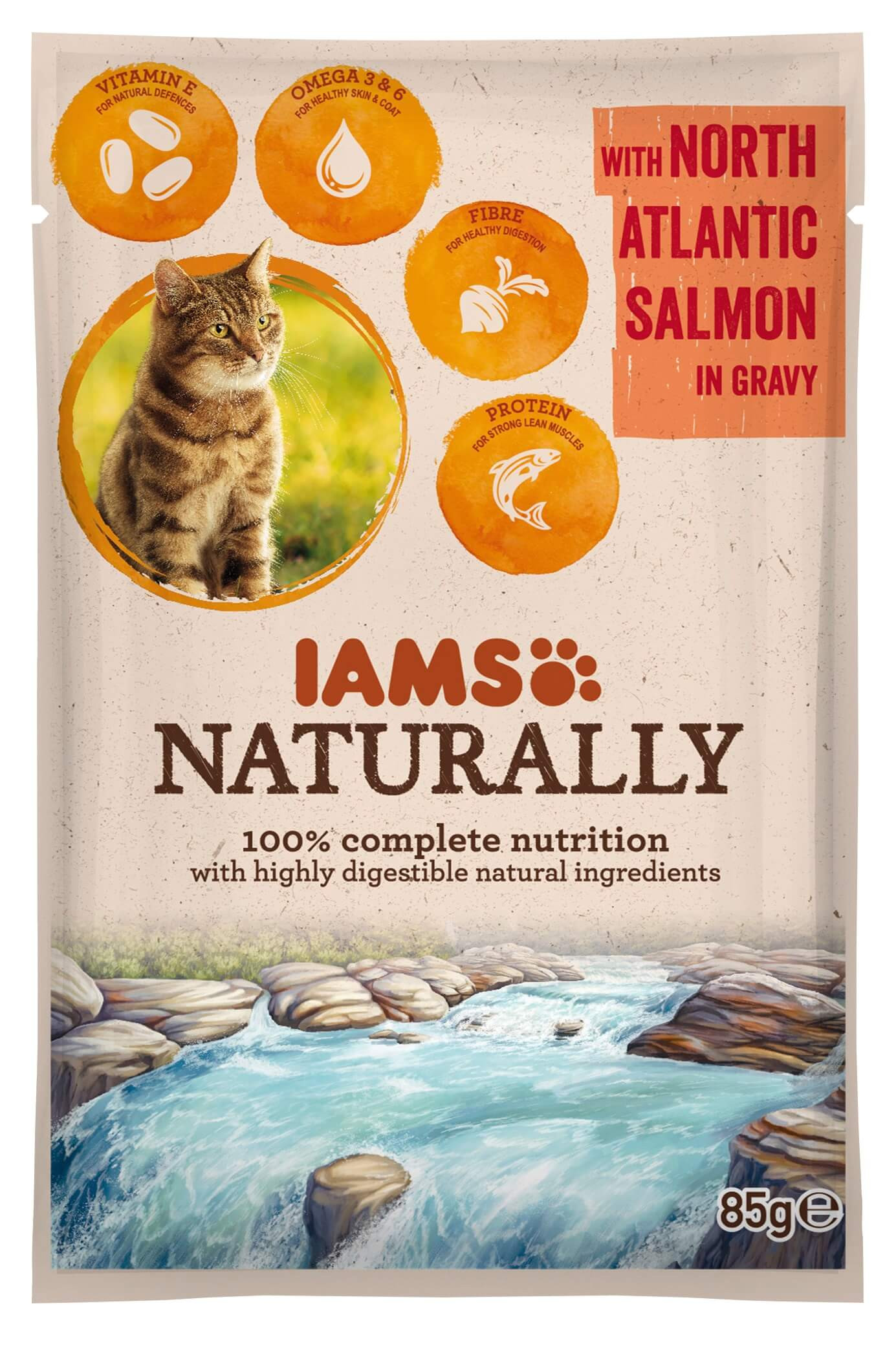 Iams Naturally Adult Zalm in saus 85 gram zakjes kat