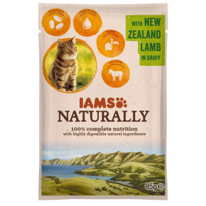 Iams Naturally Adult Lam in saus 85 gram zakjes kat