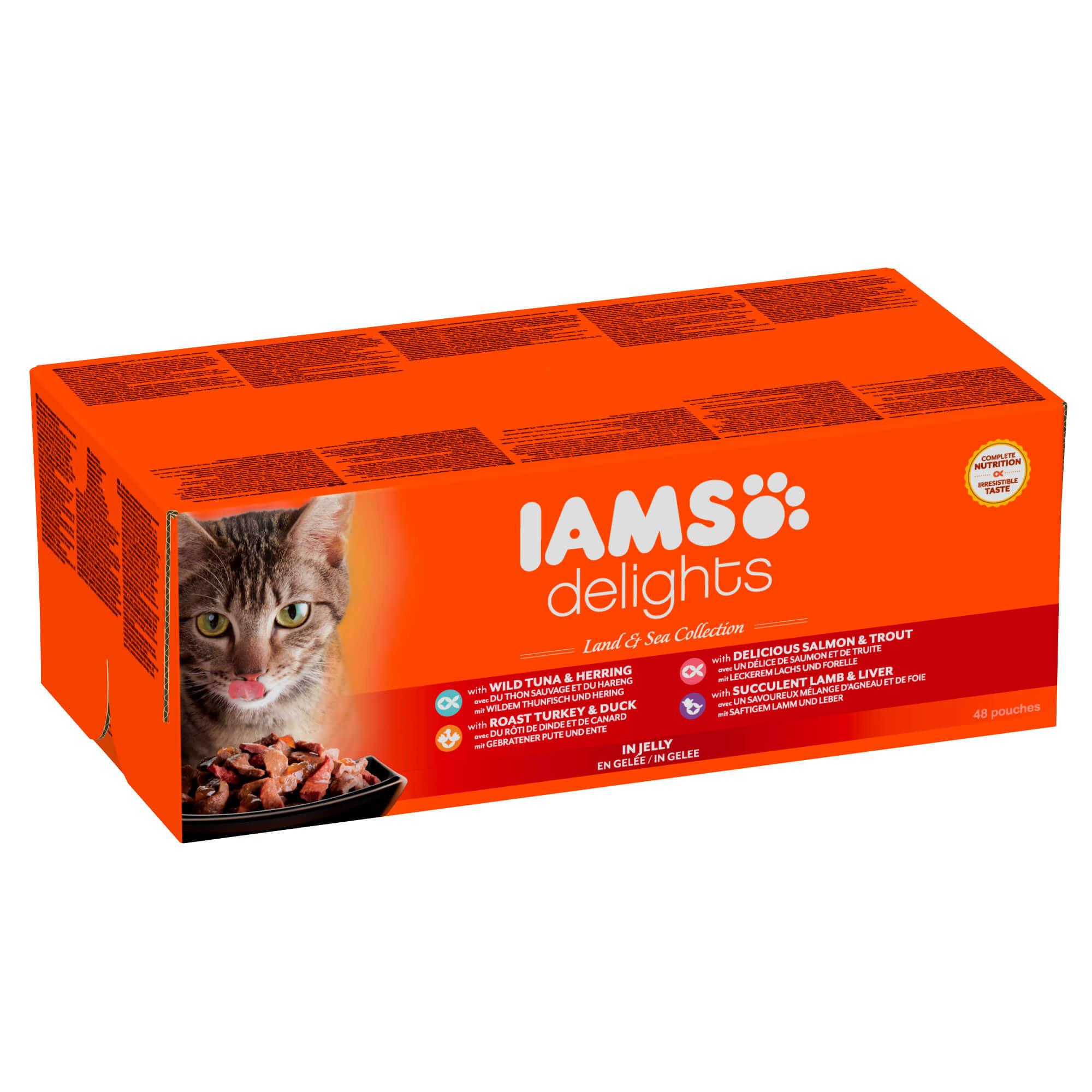 Iams Delights Land & Sea Collection 48x85 gr zakjes kat
