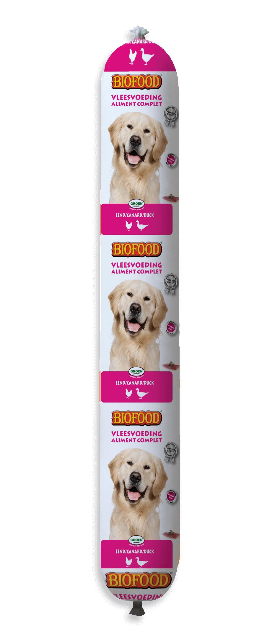 Biofood Vleesvoeding Worst Eend 800 gr hondenvoer