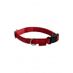 Macleather halsband verstelbaar - rood 48-70 cm