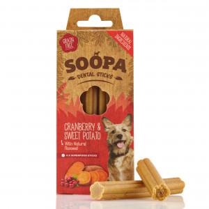 Soopa Dental Sticks Cranberry & Zoete Aardappel Hondensnack