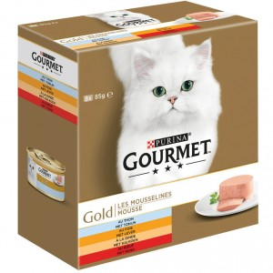 Gourmet Gold 8-Pack Mousse tonijn/lever/kalkoen/rund kat