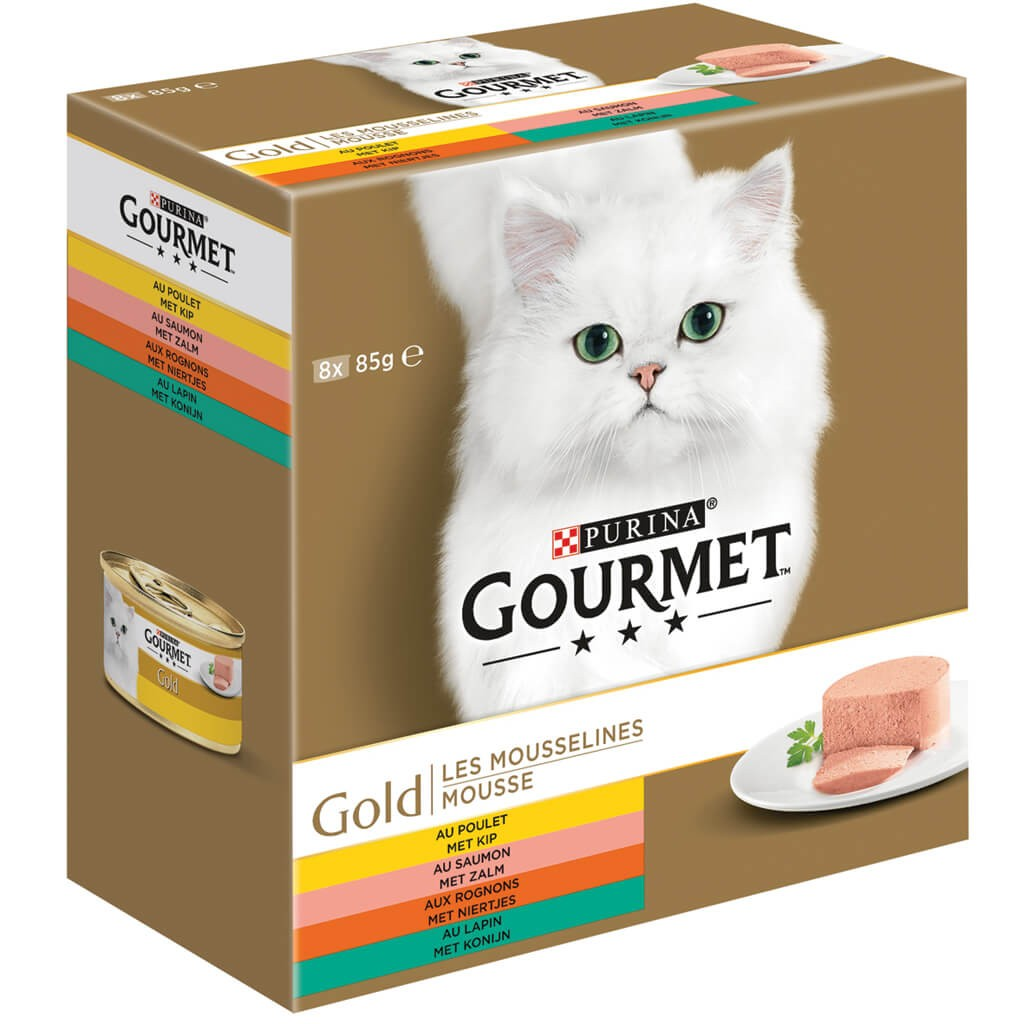 Gourmet Gold 8-Pack Mousse kip/zalm/niertjes/konijn kat