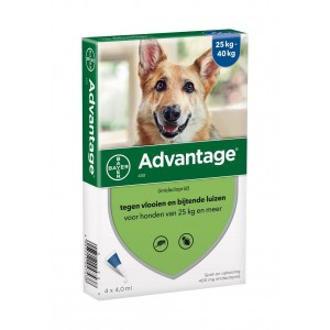 Advantage Nr. 400 vlooienmiddel (vanaf 25kg) hond 5 stuks