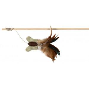 Speelhengel Hout met Jute Vlinder en Veren voor de kat