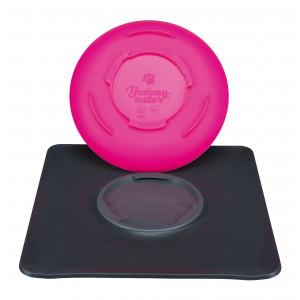 Yummynator antislip voer- /drinkbak roze 400ml, 24x24cm