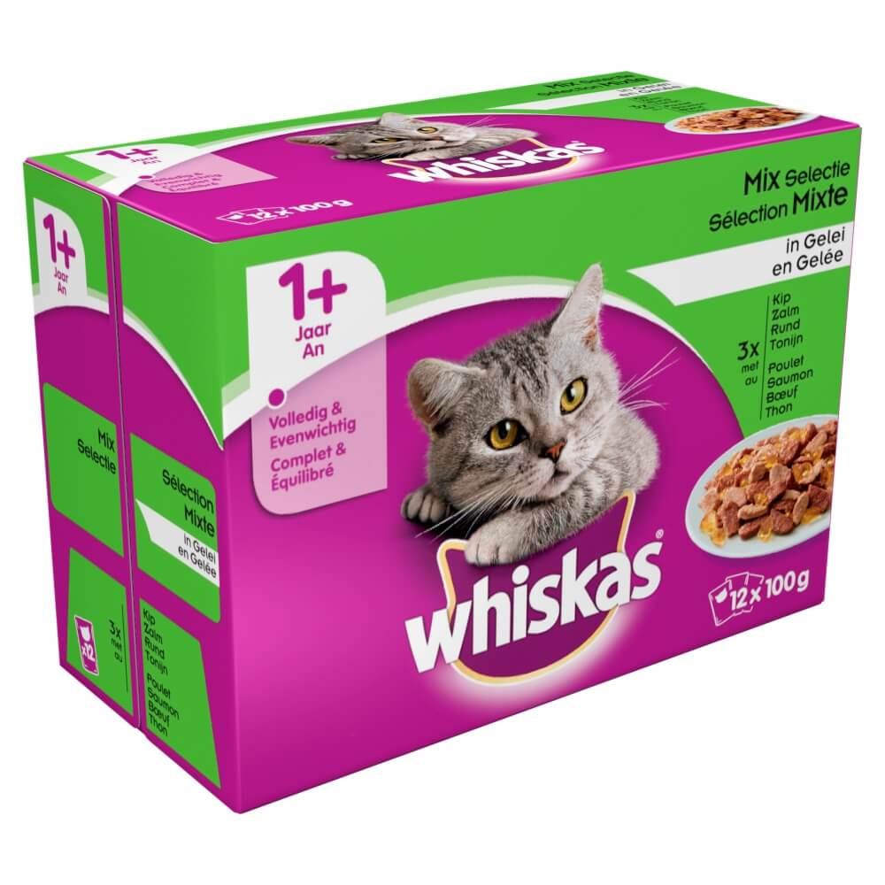 Whiskas Pouch Vlees & Vis Selectie met Groenten in Gelei