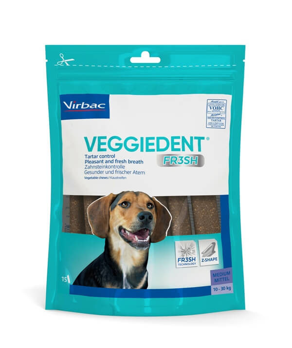 Virbac VeggieDent Medium hondensnack 10-30 kg/15 kauwstrips