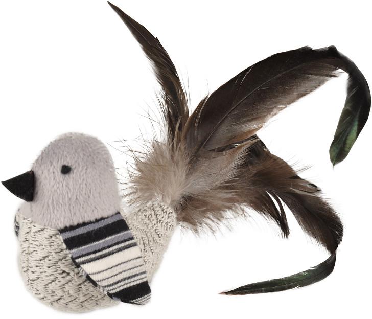Vogel met veren zwart/wit kattenspeelgoed