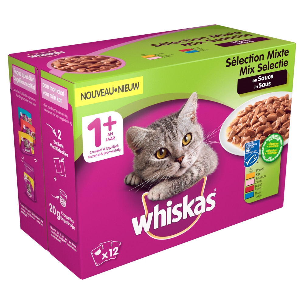 Whiskas 1+ Mix in saus pouches multipack 12 x 100g