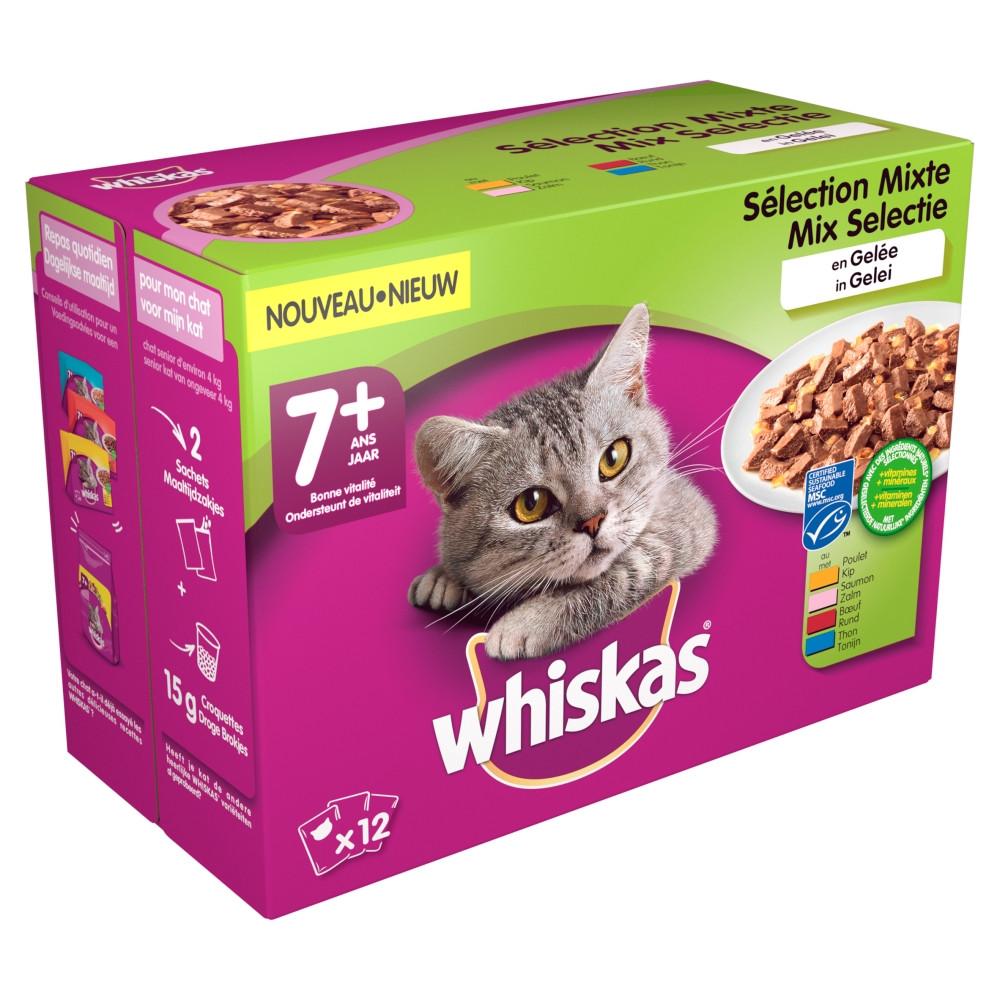 Whiskas 7+ Mix in gelei pouches multipack 12 x 100g