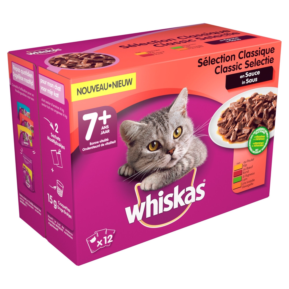 Whiskas 7+ Classic Selectie in Saus pouches multipack 12 x 100g