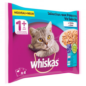 Whiskas 1+ Vis in gelei 4-pack 4 x 100g