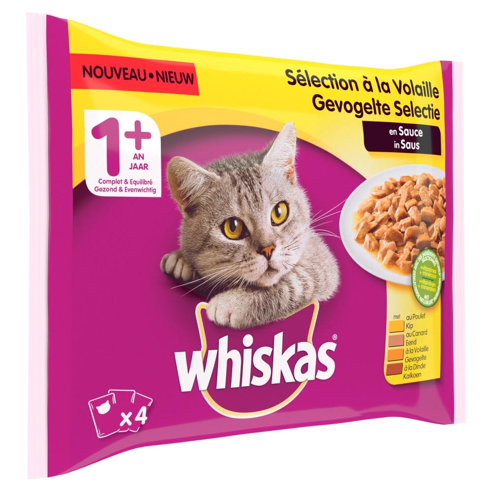 Whiskas 1+ Gevogelte in saus 4-pack 4 x 100g